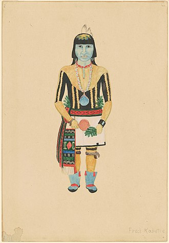 Fred Kabotie - Standing Male Hopi Indian by Fred Kabotie - Drawing; gouache over graphite on wove paper; image (irregular): 20.32 × 6.99 cm (8 × 2 3/4 in.)sheet: 29.21 × 20.16 cm (11 1/2 × 7 15/16 in.);