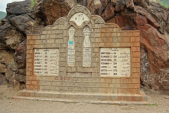 Karakoram Highway - Milestone near Besham in Pakistan.