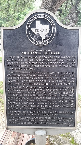State adjutant general - State Adjutant General Texas historical marker in Camp Mabry