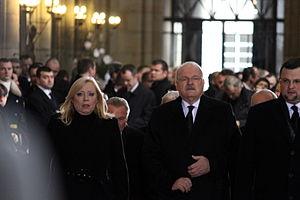 Iveta Radičová - Radičová with President Gašparovič at the funeral of Václav Havel