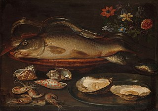 Still life with fish, oysters and shrimps