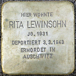 Photo of Rita Lewinsohn brass plaque