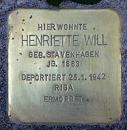 Photo of Henriette Will brass plaque