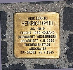 Photo of Heinrich Gabel brass plaque