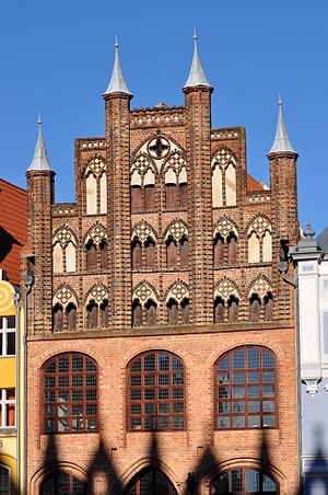 European Route of Brick Gothic - Wulflamhaus in Stralsund, Germany