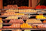 Indian confectionery store serving Indian sweets in Rajasthan, India.