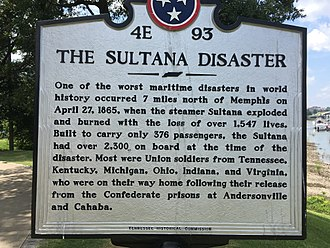 Sultana (steamboat) - Historic marker in Memphis