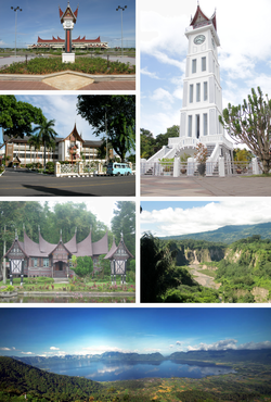 Tap upper left:Minangkabau Internaitional Airport in Padang, Tap lawer left:Sumatera Local Govrenment Office in Padang, Tap richt:Jam Gadang clocktouer in Bukittinggi, Middle left:Rumah Gadang, tradeetional hoose in Pandai Sikek veelage, Middle richt:Ngaai Siarok Valley in Bukittinggi, Bottom:Panorama view o Loch Maninjau