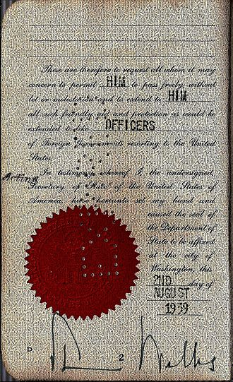 Sumner Welles - 1939 hand signed issued passport by under Secretary of State Sumner Welles