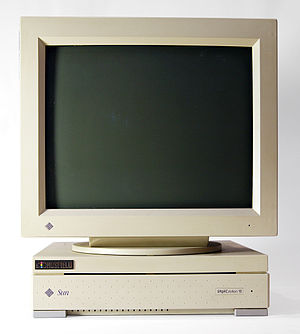 Workstation - Sun SPARCstation 10 with CRT monitor, from the early 1990s
