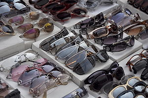 A range of sunglasses with different lense col...