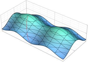 Line of greatest slope - A surface showing one example (approximate) of a path of greatest slope (red path).