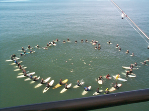 A surfer memorial service, Huntington Beach Pi...