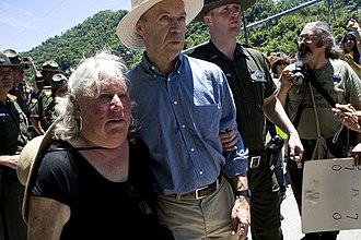 Massey Energy - Susan Rosenberg and Dr. James Hansen were arrested June 23, 2009, at the gates of Massey Energy-operated Goals Coal Company. At least 15 people were arrested protesting mountaintop removal coal mining in Appalachia.