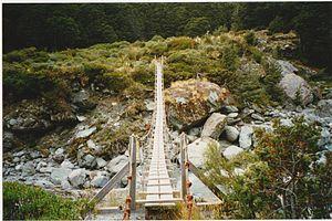 Dart River (Otago) - Suspension bridge over the upper Dart River in Otago New Zealand