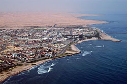 Close-up aerial photo of Swakopmund