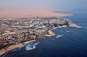Swakopmund - Close-up aerial photo of Swakopmund