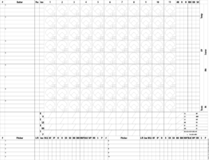 Baseball scorekeeping - Image: Swingley mpost scorecard black pitchers clean