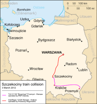 Szczekociny rail crash - Image: Szczekociny train collision