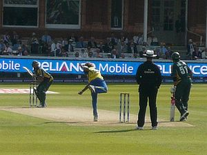 Pakistan national cricket team - Shahid Afridi batting against Sri Lanka in the ICC World Twenty20 Final at Lord's in England.