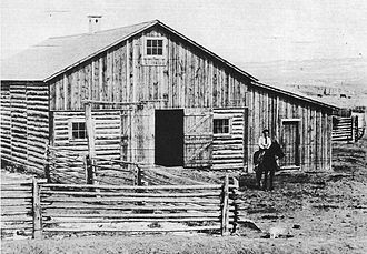"Johnson County War - The barn at the TA Ranch, where the ""regulators"" were besieged by the sheriff's posse."