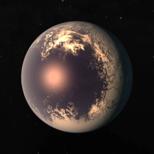 """Eyeball planet - Example of a """"cold"""" eyeball planet's spatial features, with an ice shell pierced by an ocean on the side facing the star."""
