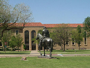 Texas Tech University traditions - Will Rogers and Soapsuds statue