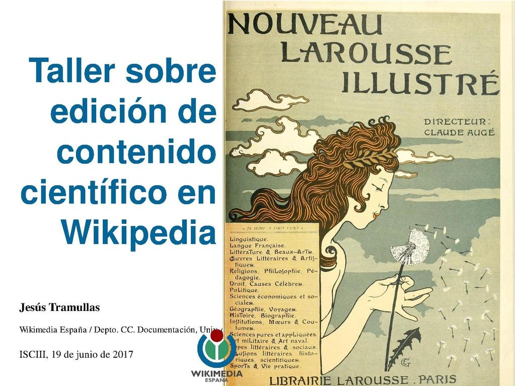 Taller sobre edición de contenido científico en Wikipedia