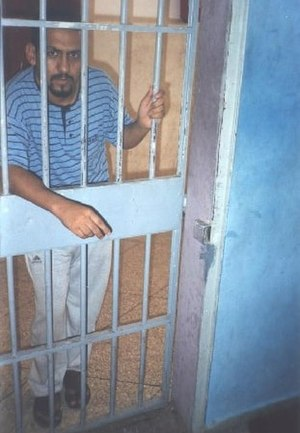 Human rights in Western Sahara - Sahrawi human rights defender Ali Salem Tamek during his imprisonment in Ait Melloun prison, in Agadir, Morocco. 29 August 2005.