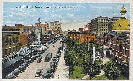Franklin Street, looking north past the old Hillsborough County Courthouse, Tampa c. 1910s-1920s TampaFranklinStreetNorth.jpg
