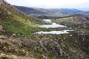 Mount Field National Park - Robert Tarn, Mackenzie Tarn and Johnston Tarn (foreground to background), Tarn Shelf