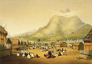 Mount Taupiri - Kaitotehe, the pā of Pōtatau Te Wherowhero, with Mount Taupiri in the background (Angas 1846)