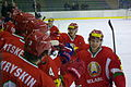 Team Belarus after goal, Belarus U20 - Denmark U20, 18.12.2013 in Sanok.jpg