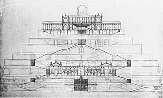 Palestrina - Reconstruction of the temple of the Fortuna Primigenia by Palladio.