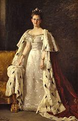 Portrait of Queen Wilhelmina in coronation robes