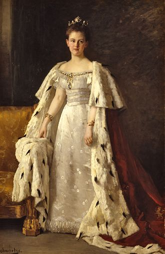 Wilhelmina of the Netherlands - Wilhelmina of the Netherlands wearing her ceremonial robe worn at her inauguration in 1898; painting by Thérèse Schwartze