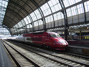 High-speed rail in the Netherlands - A Thalys train at Amsterdam Centraal