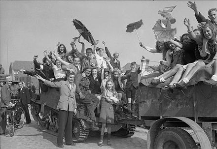 Dutch civilians celebrate the liberation of Eindhoven. The British Army in North-west Europe 1944-45 BU938.jpg