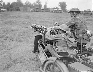 Machine Gun Corps - Men of the Machine Gun Corps Motor Branch, with their sidecar motorcycle, June 1918.