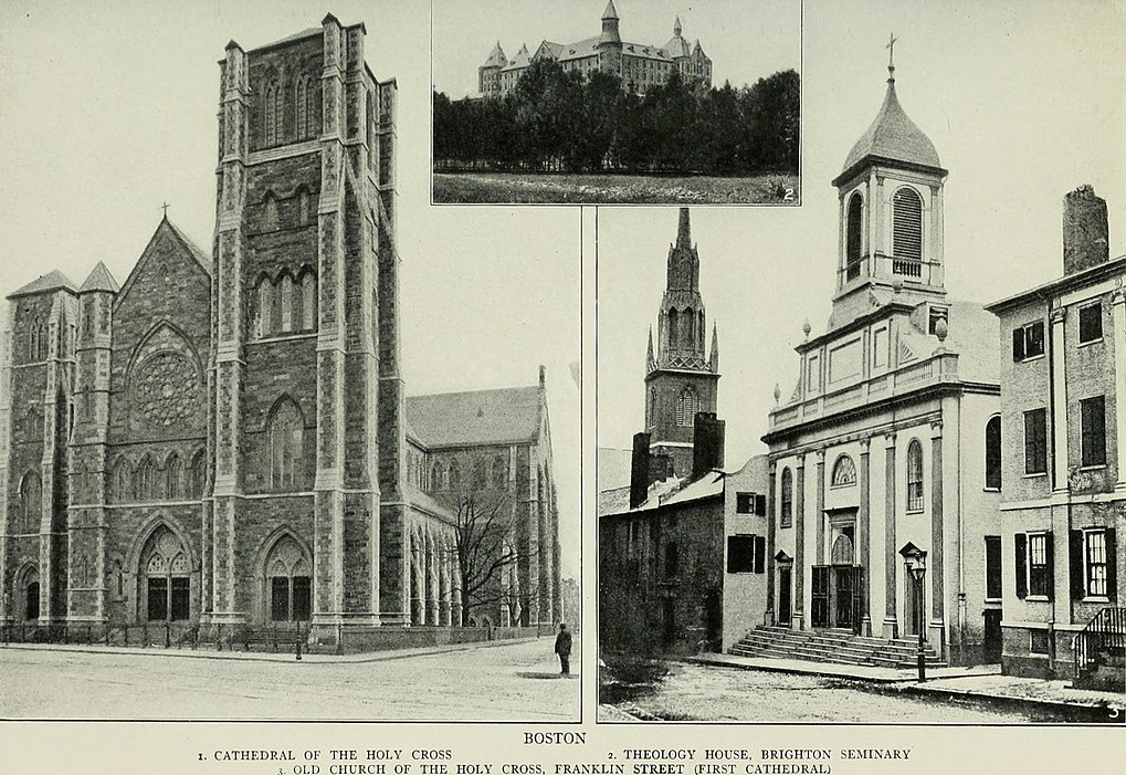 A side-by-side comparison of the new Holy Cross Cathedral in the South End (left) and the old Holy Cross on Franklin Street (right).