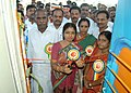 The District Collector of Karur, Smt. V. Shobana inaugurating the exhibition of Red Ribbon Express arrived in Karur, Tamil Nadu on May 15, 2012.jpg