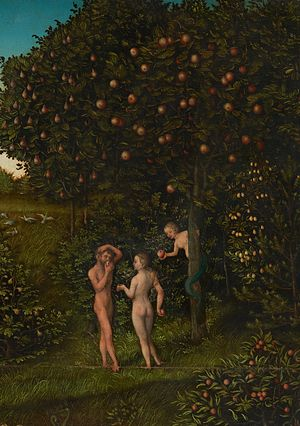 Tree of life (biblical) - The Fall of Man by Lucas Cranach, a 16th-century German depiction of Eden, with the tree of life (left) and the tree of the knowledge of good and evil