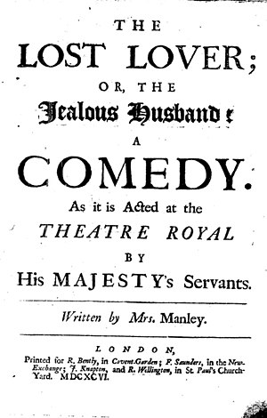 The Lost Lover (play) - Title page of The Lost Lover.