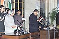 The President Dr.A.P.J.Abdul Kalam administering the Oath (Cabinet Minister) to Shri Sontosh Mohan Dev, in New Delhi on January 29,2006.jpg