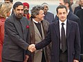 The President of France, Mr. Nicolas Sarkozy being received by the Minister of State for External Affairs, Shri Anand Sharma on his arrival at the airport, in Delhi on January 25, 2008.jpg