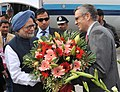 The Prime Minister, Dr. Manmohan Singh being received by the Chief Minister of Jammu and Kashmir, Shri Omar Abdullah, on his arrival at Jammu airport on February 02, 2014.jpg