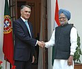 The Prime Minister, Dr. Manmohan Singh meeting with the President of Portugal, Professor Anibal Cavaco Silva in New Delhi on January 11, 2007.jpg