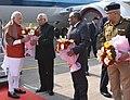 The Prime Minister, Shri Narendra Modi being received by the Governor of Uttar Pradesh, Shri Ram Naik, on his arrival, at Lucknow, Uttar Pradesh on December 19, 2016.jpg