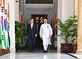 The Prime Minister, Shri Narendra Modi with the President of the Republic of South Korea, Mr. Moon Jae-in, at Hyderabad House, in New Delhi on July 10, 2018.JPG