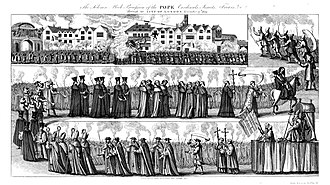 "Exclusion Bill Parliament - ""The Solemn Mock Procession of the Pope, Cardinals, Jesuits, Friars, etc. through the City of London, 17 November 1679."""